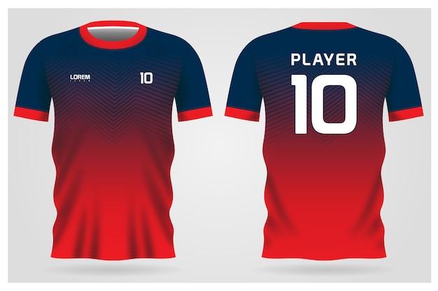 Divisa rossa della maglia da calcio blu per la squadra di calcio, vista anteriore e posteriore della maglietta