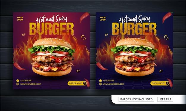 Banner di social media rosso e blu per la vendita di hamburger Vettore Premium
