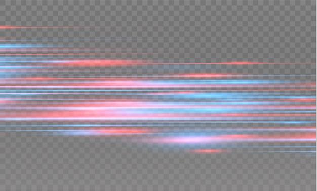 Effetto speciale rosso e blu. strisce luminose su uno sfondo trasparente. splendido bagliore e effetto movimento spark.particle