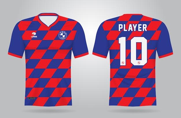 Modello di maglia sportiva blu rosso per divise della squadra