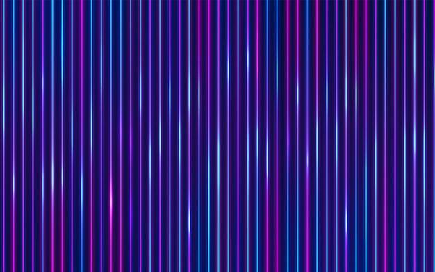 Luce al neon incandescente verticale rossa e blu su sfondo astratto blu scuro