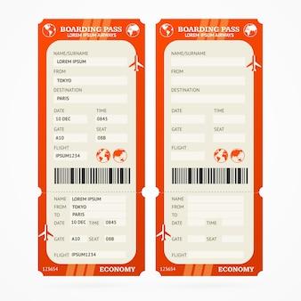 Set di biglietti per la carta d'imbarco rossa