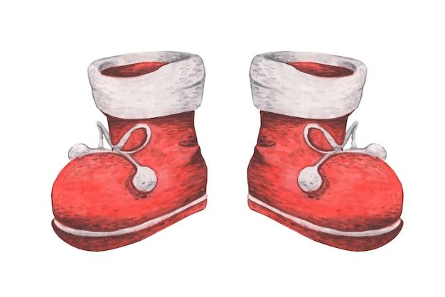 Stivali rossi. decorazioni natalizie, illustrazione dell'acquerello.