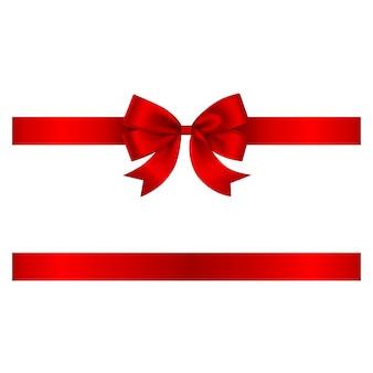 Fiocco rosso e fiocco vettoriale con nastro per decorazioni natalizie e di compleanno