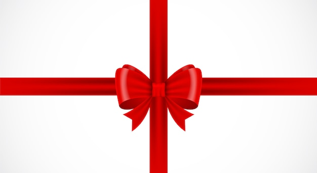 Nastro fiocco rosso su sfondo bianco pacchetto regalo fiocco rosso isolato