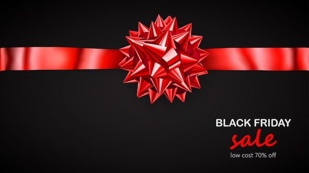 Fiocco rosso con nastro orizzontale con ombra e scritta black friday sale su sfondo nero