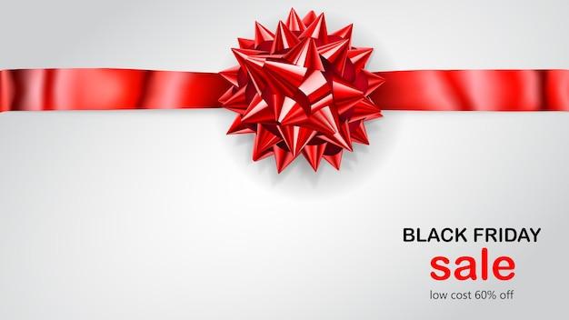Fiocco rosso con nastro orizzontale con ombra e scritta black friday sale su sfondo bianco