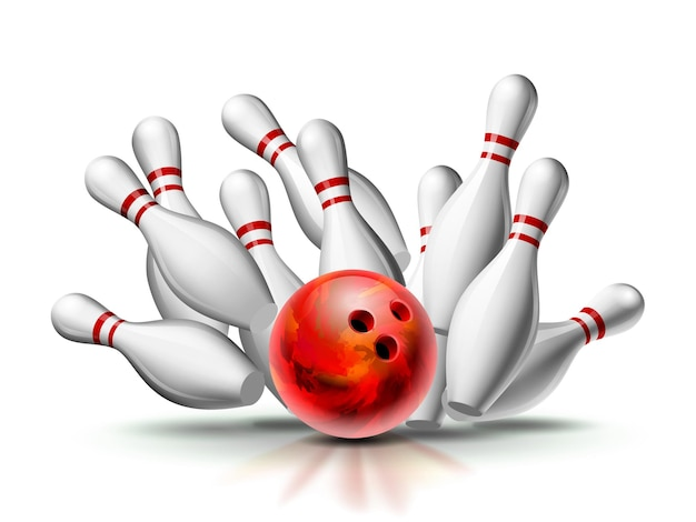 Palla da bowling rossa che si schianta contro i birilli. illustrazione dello sciopero di bowling isolato su priorità bassa bianca. modello di vettore per poster di competizione sportiva o torneo.