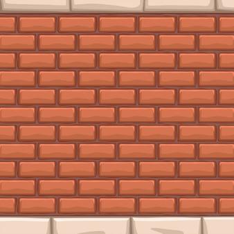 Muro di mattoni rossi con pietre bianche