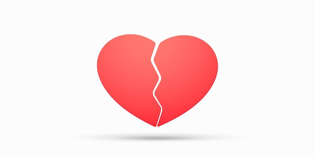 Illustrazione rossa del cuore spezzato