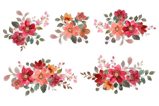 Bouquet di fiori rossi e marroni con acquerelli