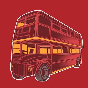 Illustrazione di autobus rosso