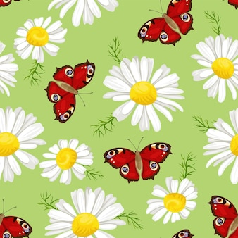 Farfalla rossa e modello senza cuciture margherita bianca. floreale. Vettore Premium