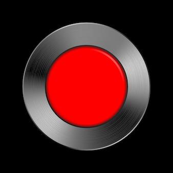 Modello di pulsante rosso su struttura metallica per applicazioni e app dell'interfaccia utente delle interfacce utente