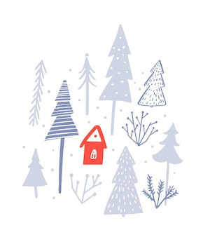 Cabina rossa nell'illustrazione vettoriale della foresta invernale cartolina di natale sfondo di neve bianca con alberi