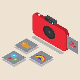 Scatti istantanei con fotocamera rossa