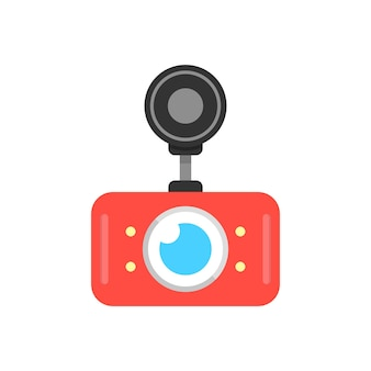 Icona rossa del dvr dell'automobile. concetto di videoregistratore digitale, prevenzione degli incidenti, apparato di registrazione, monitor cctv. isolato su sfondo bianco. stile piatto tendenza moderna logo design illustrazione vettoriale
