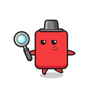 Personaggio dei cartoni animati con cartellino rosso che cerca con una lente d'ingrandimento, design in stile carino per maglietta, adesivo, elemento logo