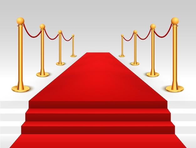 Evento tappeto rosso con illustrazione di barriere d'oro