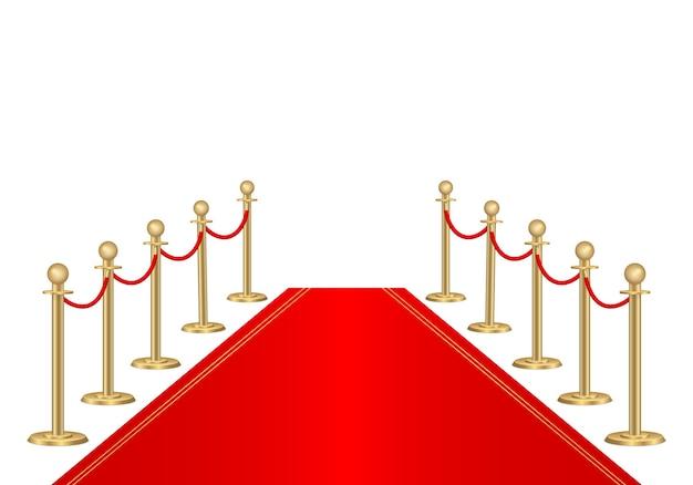 Tappeto rosso e barriere 3d del percorso. evento vip, celebrazione del lusso. supporti per barriere in corda d'oro. prima cerimonia dello spettacolo. ingresso di lusso per eventi vip o feste di celebrità.