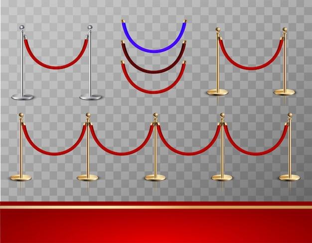 Set di attrezzature realistiche tappeto rosso