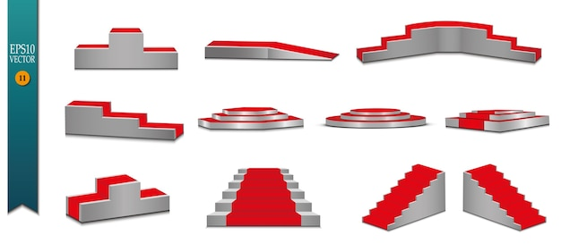 Tappeto rosso e podio rotondo con effetto luci