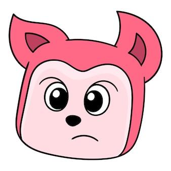 La testa del gatto rosso è congelata in stato di shock, emoticon di cartone illustrazione vettoriale. disegno dell'icona scarabocchio