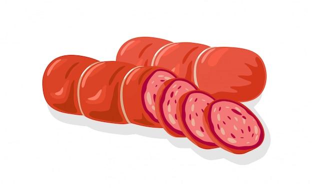 Cervelat rosso, prosciutto cotto, salsiccia, kielbasa, salame, mortadella, peperoni tagliati a fette per tramezzini, tagliere di carne. fumetto illustrazione di macelleria o prodotto fatto in casa su bianco.
