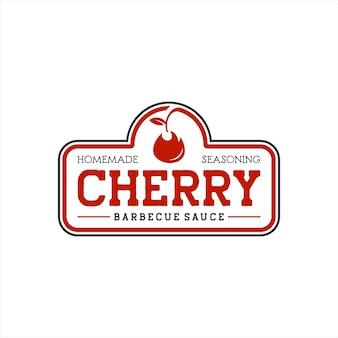 Grafica del logo vettoriale del timbro barbecue salsa di ciliegie rosse