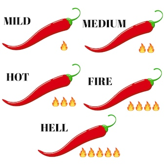Peperoncino rosso con set di vettore icona fiamma fuoco tasso caldo isolato su sfondo bianco. livello di infografica stile cartone animato design piatto di illustrazione piccante. lieve, medio, caldo, fuoco, forza infernale