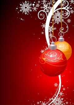 Sfondo di natale rosso con palline e fiori bianchi