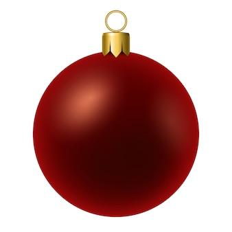 Palla rossa di natale su bianco.
