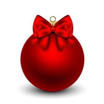 Palla di natale rossa con un fiocco, isolato su sfondo bianco. illustrazione.