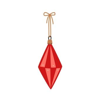 Pallina di natale rossa. illustrazione vettoriale di natale