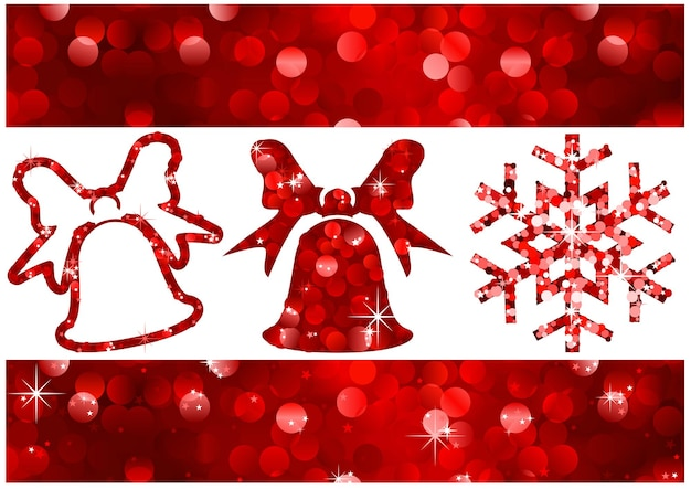Striscioni natalizi rossi con glitter ed elementi di design con motivo a luci sfocate