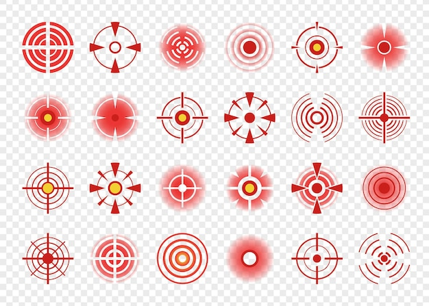 Icona del dolore del cerchio rosso, segni o macchie di dolori del corpo. segni di destinazione di muscoli e articolazioni dolorosi, set di simboli di punti di indicazione di mal di testa. problemi di assistenza sanitaria, dolore o terapia per lesioni