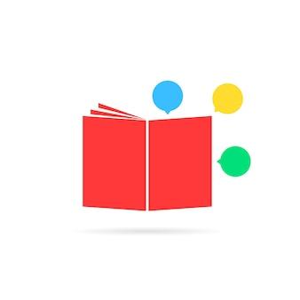 Libro di classe rosso come un fumetto. concetto di libretto, romanzo, informazioni, emblema insolito, diario, storia di supereroi, università. stile piatto tendenza logo moderno design grafico arte su sfondo bianco