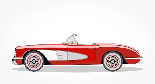 Cartone animato di berlina convertibile classico rosso con effetto laterale e ombra dettagliate