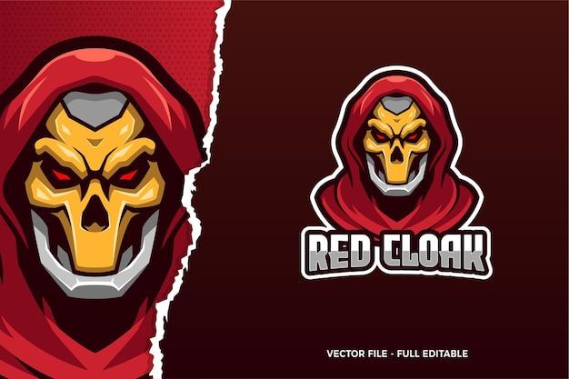 Modello di logo di e-sport di mantello rosso