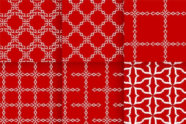 Set di bellissimi modelli di colore rosso Vettore Premium