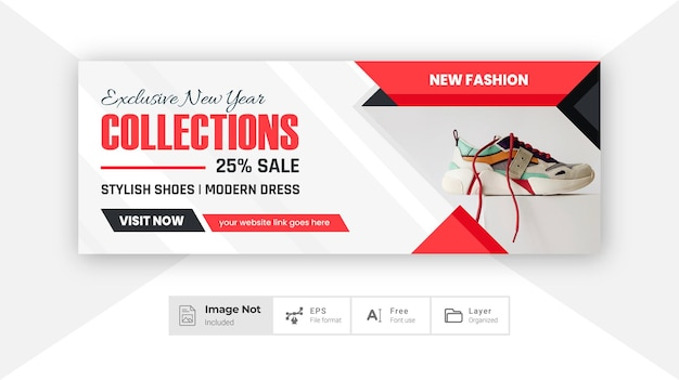 Colore rosso moda banner sociale copertina design prodotto vendita post sconto banner layout colorato tema
