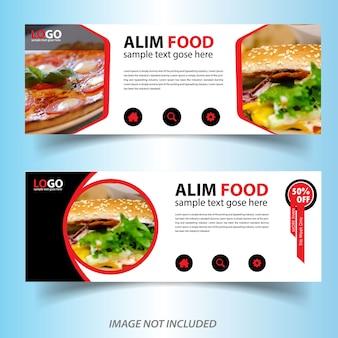 Modello di banner web cibo ristorante di colore rosso