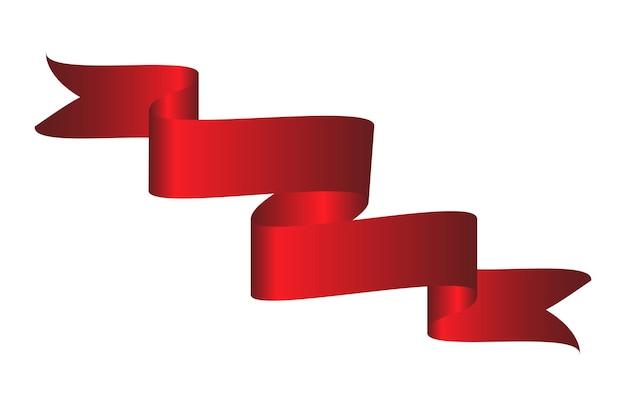 Nastro curvo colorato rosso su sfondo bianco. illustrazione di vettore. eps10