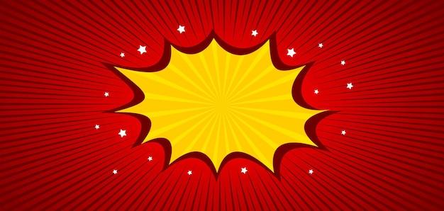 Sfondo rosso comico con nuvoletta gialla e stelle