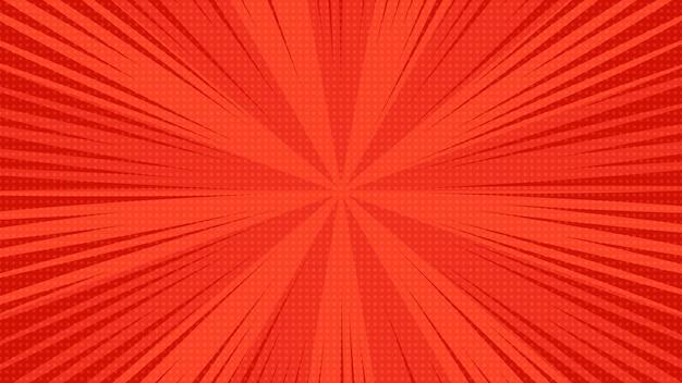 Sfondo della pagina di fumetti rossi in stile pop art con spazio vuoto. modello con raggi, punti e texture effetto mezzitoni. illustrazione vettoriale