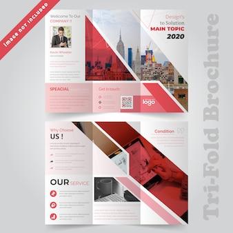 Modello di brochure pieghevole di red corporate tri