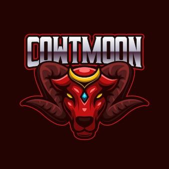 Modello di logo di gioco della mascotte di red cow bull e-sports