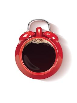 Tazza di caffè rossa come illustrazione della sveglia