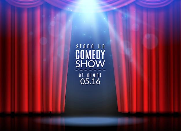 Scena tenda rossa. tende aperte palcoscenico teatro opera opera cinema spettacolo broadway cabaret club riflettori premi tessuto evento, creativo