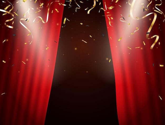 Tenda rossa con sfondo di coriandoli oro che cadono